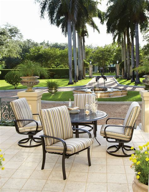 Light, airy colors or a pop of blue give a coastal feel to patio dining furniture. Winston Outdoor Furniture Sale Continues through March 31st - Bay Breeze Patio