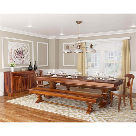 tiraspol traditional rustic solid wood  piece dining room set