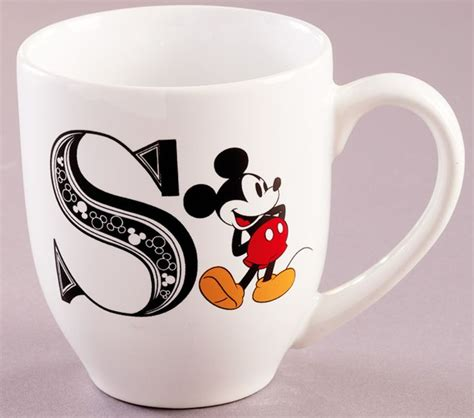 mickey mouse coffee cup initial letter  stoneware dishwasher microwave safe mug