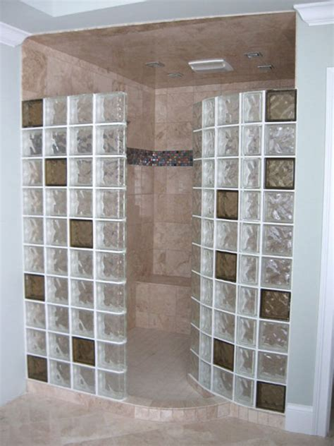 colored glass blocks   doorless walk  shower