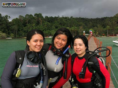 downbelow office girls  scuba diving  tarp sabah