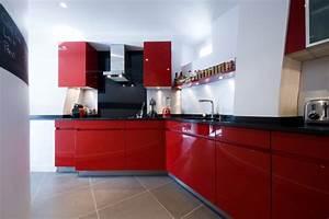 chantier deco cuisine rouge With deco de cuisine rouge