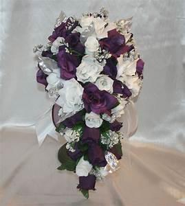 Wedding Silk Flower Bridal Bouquet Cascade Package Purple ...