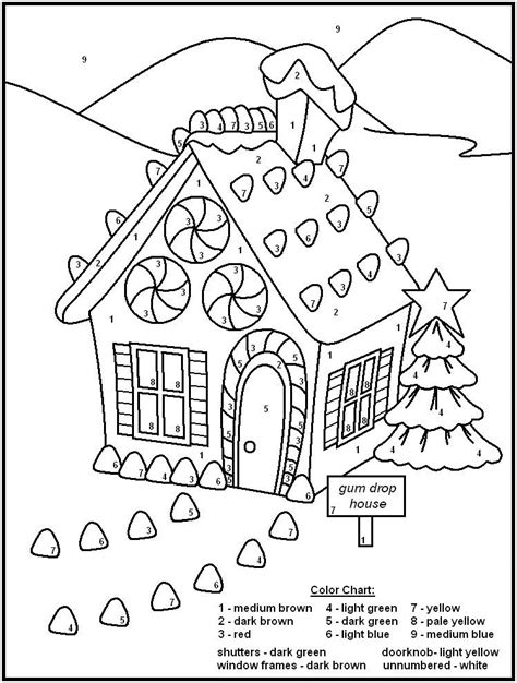 Gingerbread House Christmas Color By Numbers 001 See the