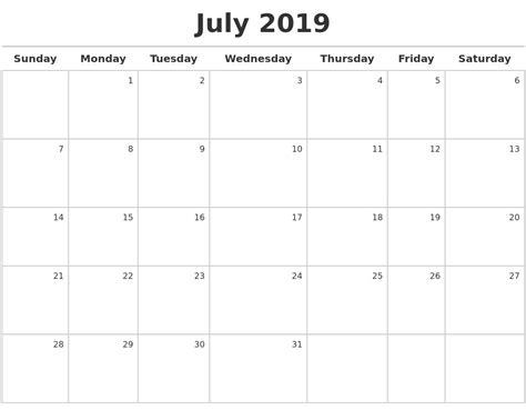 2019 Calendar Template July 2019 Calendar Calendar