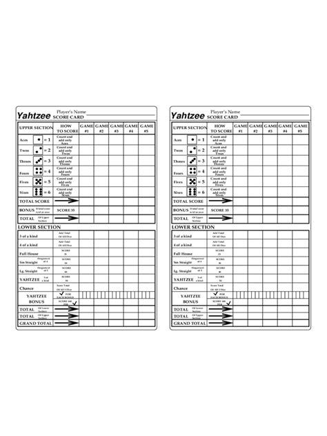 yahtzee score sheet fillable printable  forms
