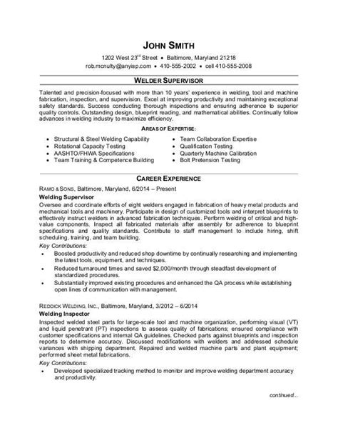 Welder Supervisor Resume Sample | Monster.com