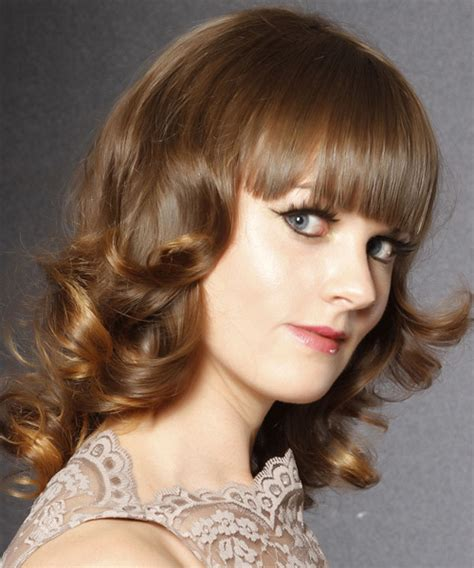 haircuts for 40 year medium curly formal hairstyle with blunt cut bangs 6009