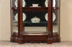 Pulaski Glass Panel Display Cabinet by Sold Pulaski Cherry Curved Glass Vintage China Display