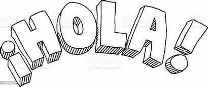 Hola Text Drawing Illustration Spanish Istock Vector