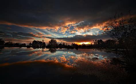 Nature Landscape Pond Sunset Wallpapers Hd Desktop