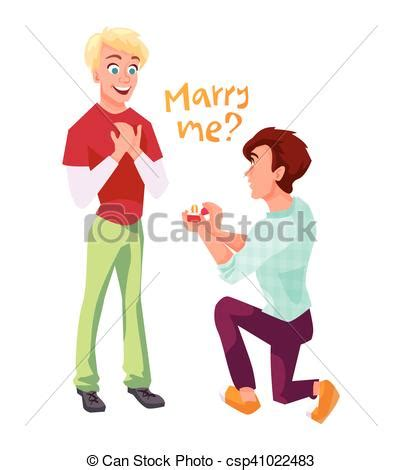 couple proposition mariage illustration gay sien