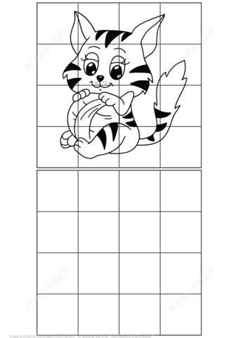 copy  picture  cat grid copy puzzle  printable