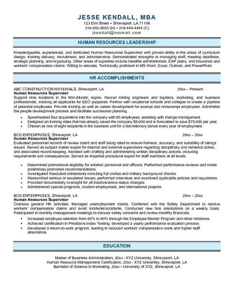 human resources resume best resumes