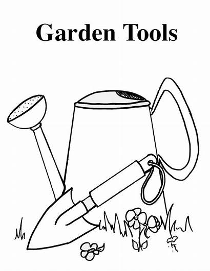 Garden Tools Coloring Vegetable Gardening Pages Activity