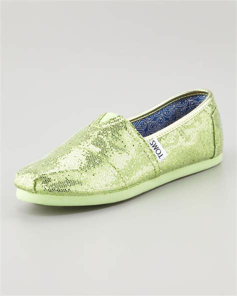 lyst toms glitter shoe mint youth  green