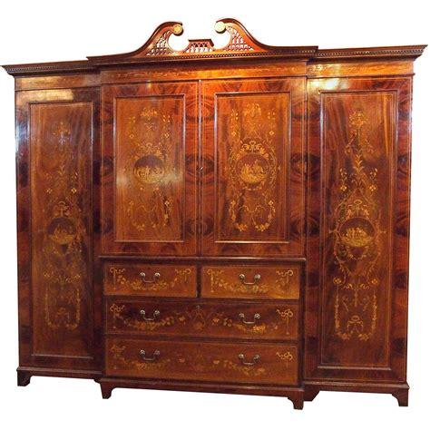vintage linen cabinet antique mahogany inlaid cabinet linen press for 3240