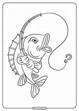 Rod Fishing Coloring Printable Pages Fish sketch template