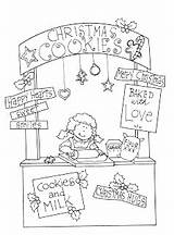 Booth Cookie Christmas Coloring Freedeariedollsdigistamps Clipart Stamps sketch template
