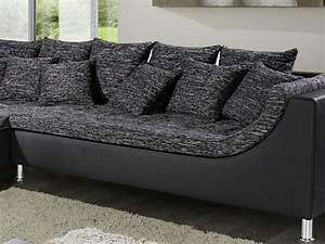 Kunstleder Couch Schwarz : eckcouch madeleine 326x213cm webstoff schwarz grau kunstleder schwarz couch sofa ebay ~ Watch28wear.com Haus und Dekorationen