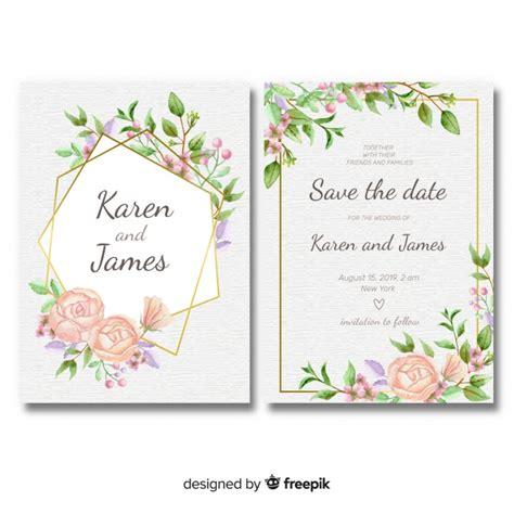 floral wedding invitation template  golden frame