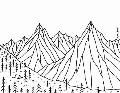 Drawing Mountain Line Mountains Coloring Bison Getdrawings