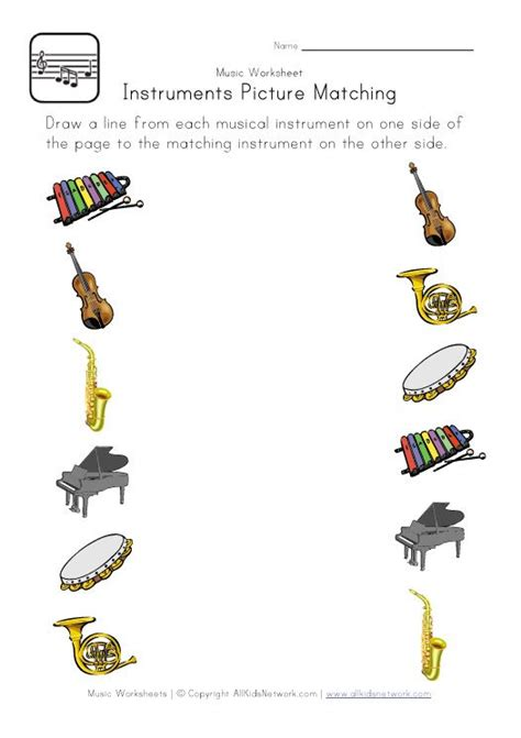 Music Picture Matching Worksheet  Musical Instruments Theme  Pinterest  Charts, For Kids And
