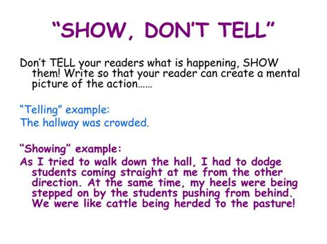 """Ppt  """"show, Don't Tell"""" Powerpoint Presentation Id5449132"""