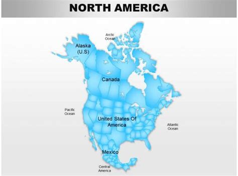 north america continents powerpoint maps  images