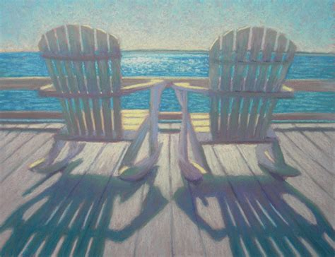 pastel painting two adirondack rocking chairs on the deck