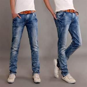Free shipping 2014 new pants Menu0026#39;s Stretch feet Skinny jeans Slim Korean men wear white blue ...