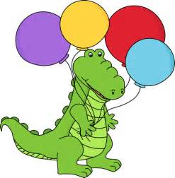 Alligator Holding Balloons Clip Art