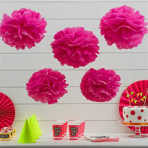 Neon Pink Tissue Paper Pom Poms By Ginger Ray