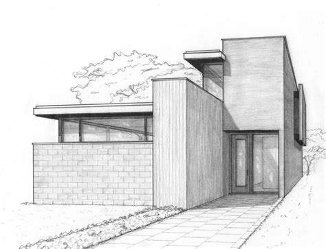 Modernes Haus Zeichnen by A Perspective Sketch For A House In The City Work