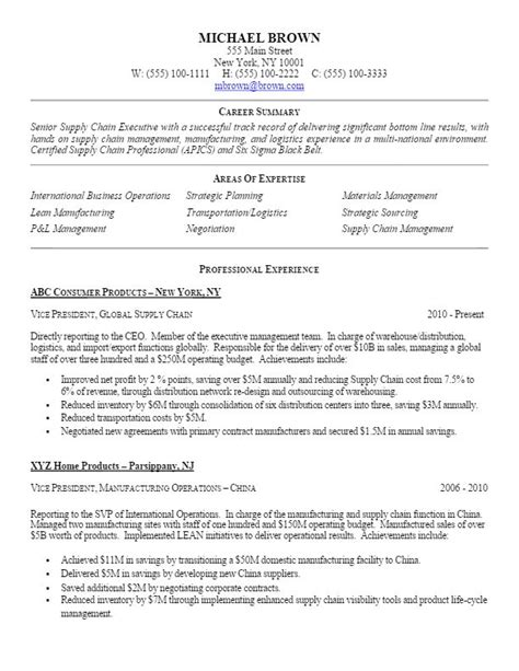 Supply Chain Resume Tips by Sle Vp Level Supply Chain Resume For More Resume