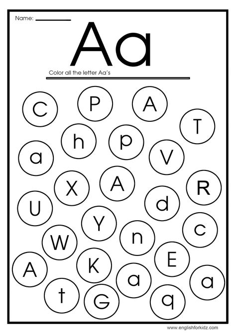 find letter a worksheet english for children