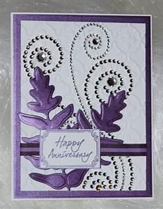 embossed anniversary card with rhinestone swirls With make wedding anniversary card online