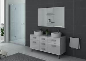 Meuble De Salle : meuble de salle de bain blanc 2 vasques meuble de salle de bain blanc dis911b ~ Nature-et-papiers.com Idées de Décoration