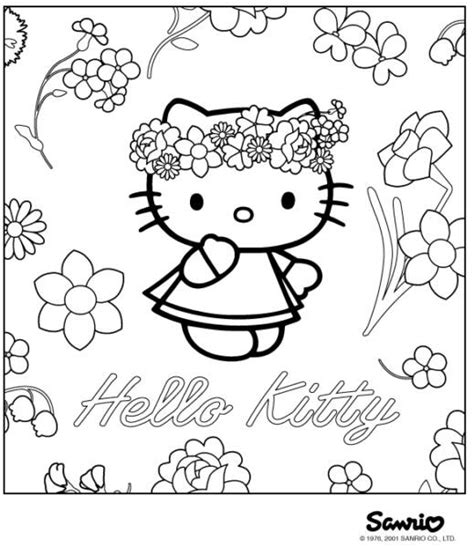Sweet Hello Kitty with Flower Coloring Pages >> Disney