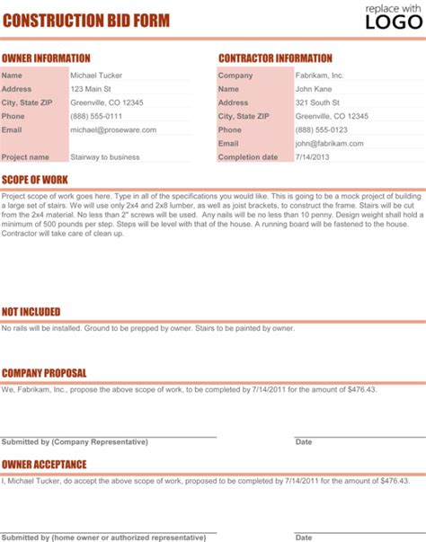 construction proposal template   sample