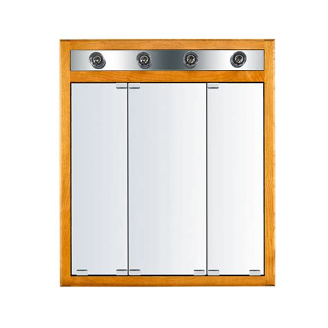 led lighted recessed medicine cabinet shop kraftmaid formal 29 6875 in x 33 75 in honey spice