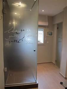 parois de douche stephanie lebreton realisation sur verre With douche avec porte vitrée