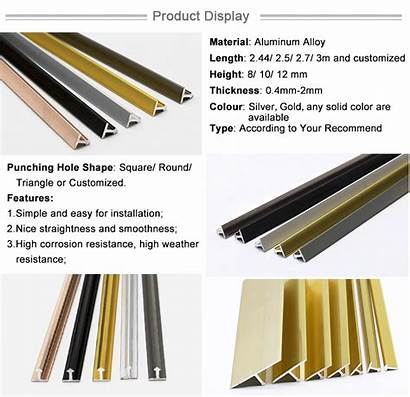 Metal Tile Trim Shape Transition Strips Gold