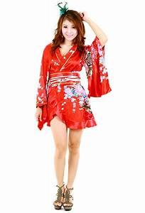 Red Kimono Robe - Asian Dresses