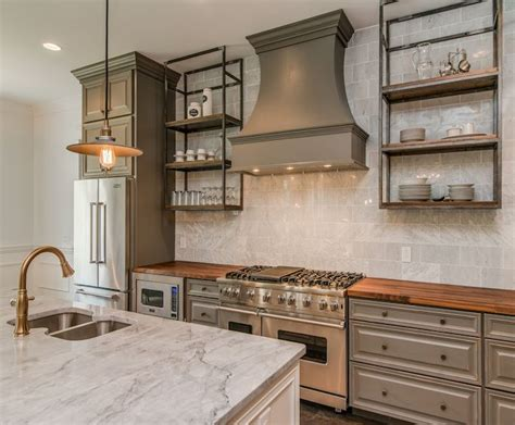 gray rustic  refined kitchen grey kitchen cabinets