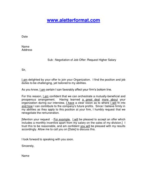 Salary Negotiation Email Template by Salary Negotiation Letter Crna Cover Letter