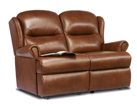 Small 2 Seater Settees by Malvern Small Leather Fixed 2 Seater Settee Sherborne