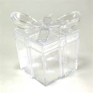 maple craft clear square gift box with bow plastic favor box pack of 12 gift