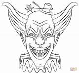 Coloring Clown Evil Face Printable Drawing Paper sketch template