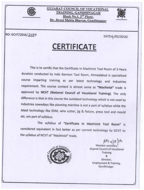 certificate in tool & die making, training centre